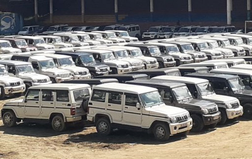Vehicles requisitioned for the bye-elections to the Southern Angami-I A/C parked at Kohima Local Ground. (Morung Photo)