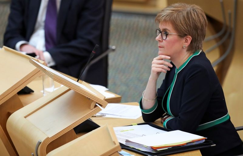 Scotland's First Minister Nicola Sturgeon attends First Minister's Questions in the Scottish Parliament in Edinburgh, Scotland, Britain, September 17, 2020. REUTERS/Russell Cheyne/Pool