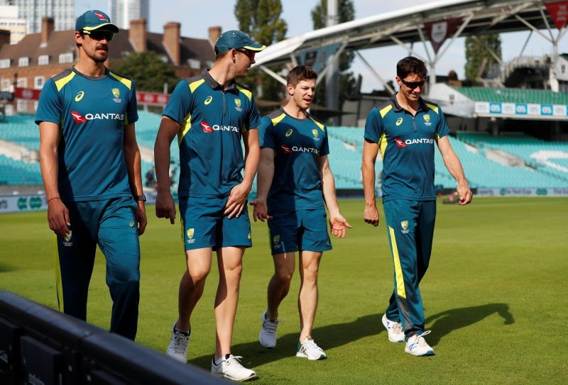 Australia's Mitchell Starc, Josh Hazlewood, Tim Paine and Pat Cummins during nets Action Images via Reuters/Paul Childs/Files