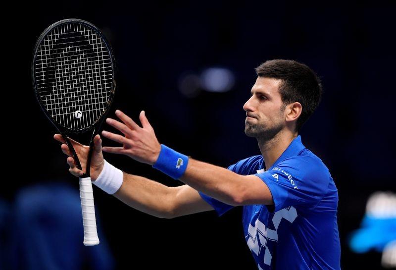 Serbia's Novak Djokovic celebrates winning his group stage match against Germany's Alexander Zverev REUTERS/Toby Melville