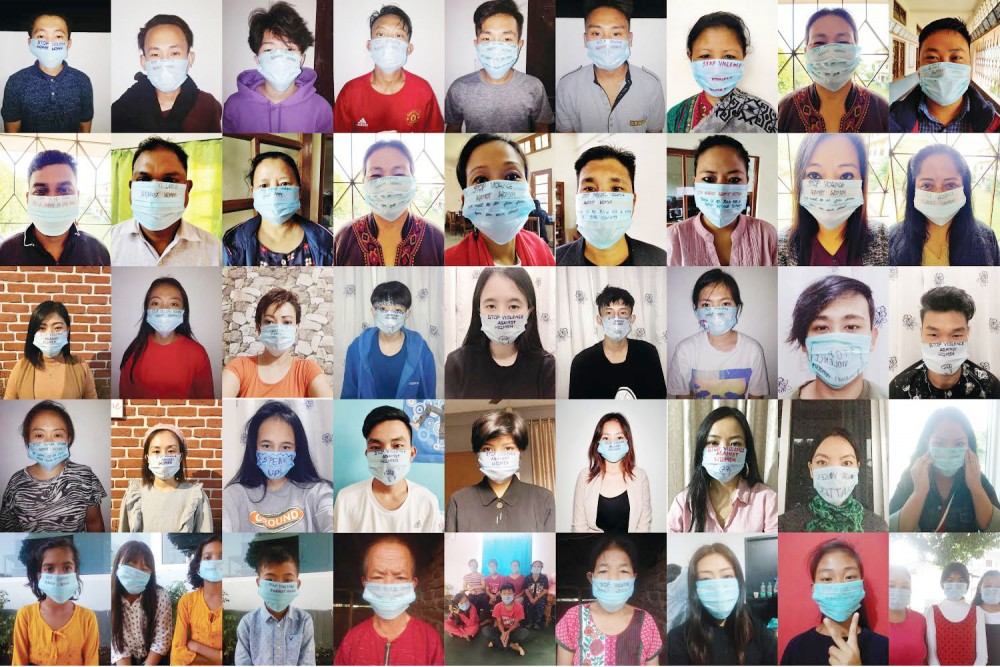 Participants of the SN's social media campaign wearing face masks with slogans against domestic violence.