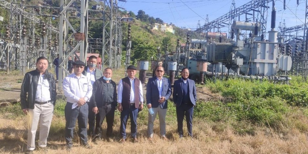 Advisor Tovihoto Ayemi, Minister V Kashiho Sangtam and others during their inspection of the 132/66/33kv Kiphire Substation on November 24. (DIPR Photo)