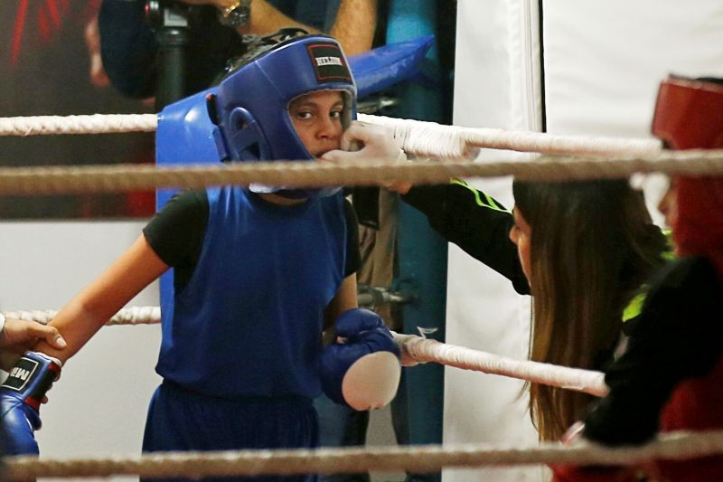 A Palestinian girl takes part in a rare boxing championship in Gaza City November 20, 2020. REUTERS/Suhaib Salem