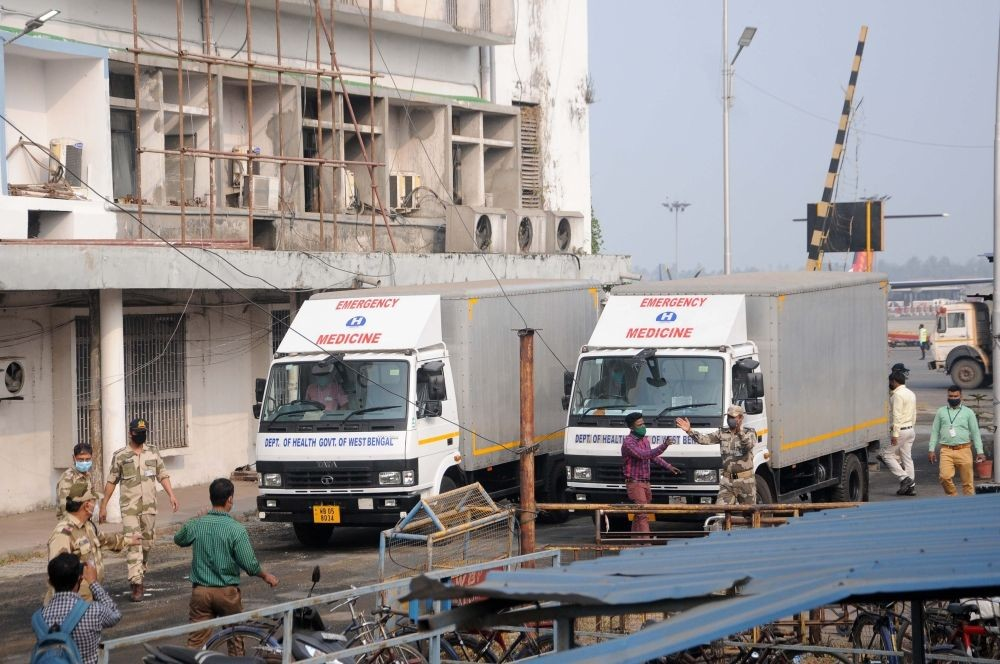 With India gearing up for the launch of its nationwide inoculation drive against the coronavirus outbreak on January 16, West Bengal received its first consignment of Covid-19 vaccine Covishield on Tuesday. Kuntal Chakrabarty / Ians