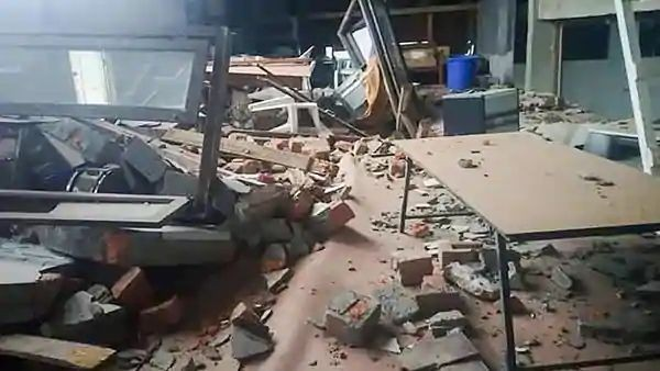 Debris inside a damaged building, after an earthquake (PTI)