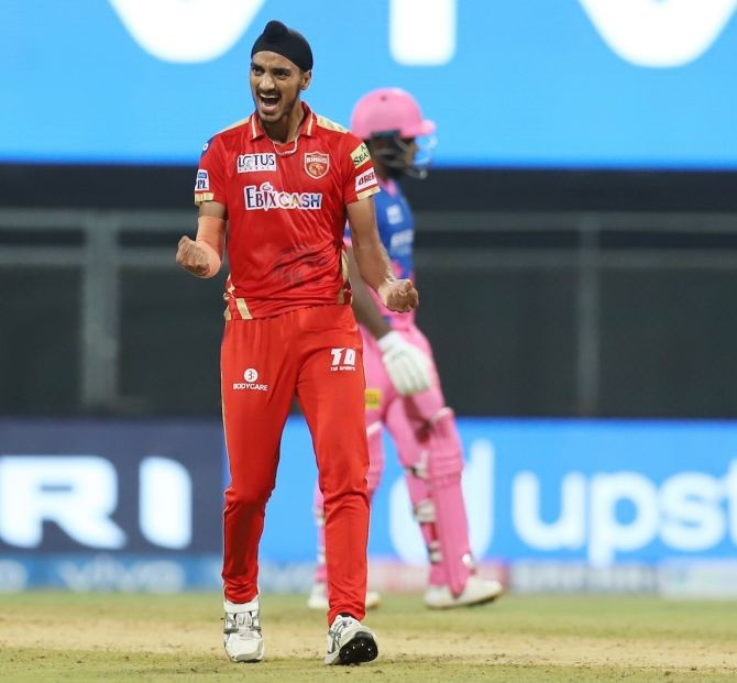 Arshdeep Singh held his nerves in the final over. Photograph: IPL/Twitter