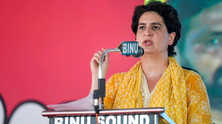 Congress leader Priyanka Gandhi Vadra addressing a public meeting in Kerala's Kollam on March 30, 2021 (Photo Credits: PTI)