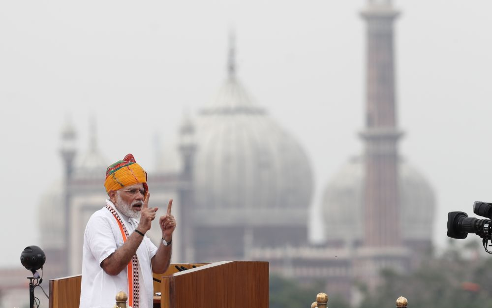 Indian Prime Minister Narendra Modi addresses the nation during Independence Day celebrations at the historic Red Fort in Delhi, India, August 15, 2019. REUTERS/Adnan Abidi