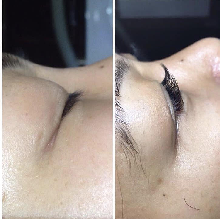 Before and after correcting the eyelashes on a client.