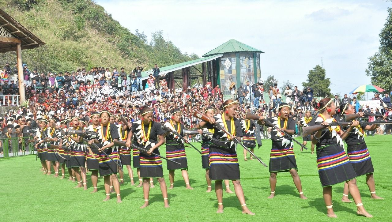 Womenfolk of the Konyak troupe performing a folk dance on the 2nd day of the Hornbill festival held at Naga Heritage Village, Kisama on December 2. (DIPR Photo)