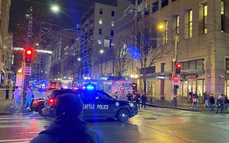 Police block a road following a shooting in Seattle, Washington, U.S., January 22, 2020, in this picture obtained from social media.   Mandatory credit GABE REYES/via REUTERS